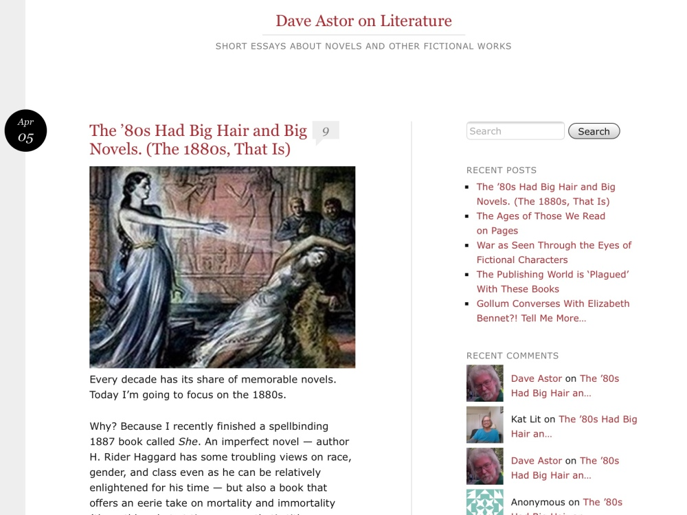 A great post on Dave Astor's Blog DaveAstoronLiterature.com